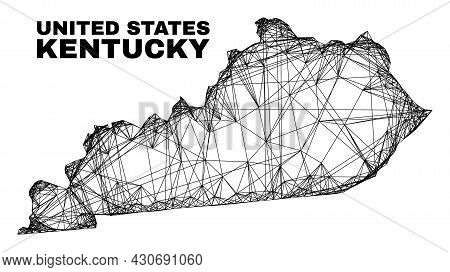Carcass Irregular Mesh Kentucky State Map. Abstract Lines Are Combined Into Kentucky State Map. Wire