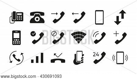 Phone Icons. Telephone Mail And Smartphone Communication Symbols. Answer And Decline Call Interface