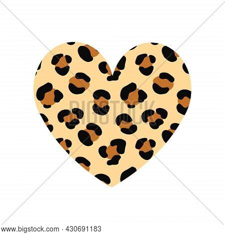 Vector Hand Drawn Flat Heart With Leopard Cheetah Fur Print Isolated On White Background