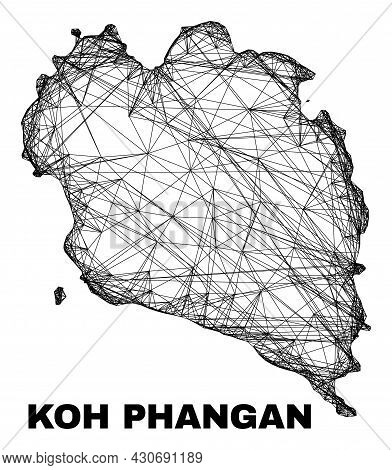 Carcass Irregular Mesh Koh Phangan Map. Abstract Lines Are Combined Into Koh Phangan Map. Linear Car