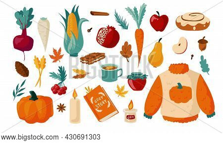 Autumn Set. Cartoon Falling Foliage With Warm Clothes. Hot Drinks And Sweet Cookies. Vegetables Or F