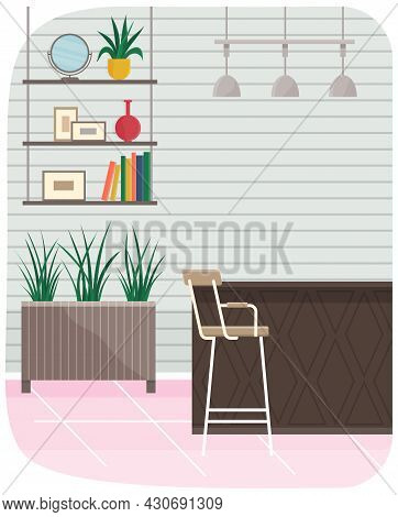 Modern Room Interior Design With High Chair, Bar Counter, Hanging Cabinet With Shelves And Potted Pl