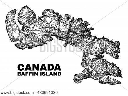 Net Irregular Mesh Baffin Island Map. Abstract Lines Form Baffin Island Map. Wire Frame 2d Net In Ve