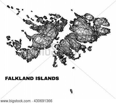 Network Irregular Mesh Falkland Islands Map. Abstract Lines Are Combined Into Falkland Islands Map.