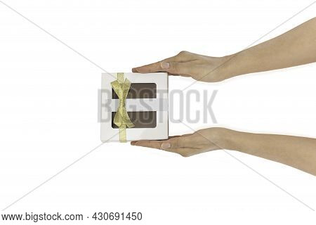 Womans Hands Holding Gift Or Present Box In Clipping Path Top View Flat Lay Composition.
