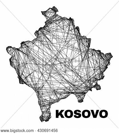 Wire Frame Irregular Mesh Kosovo Map. Abstract Lines Form Kosovo Map. Linear Carcass Flat Network In