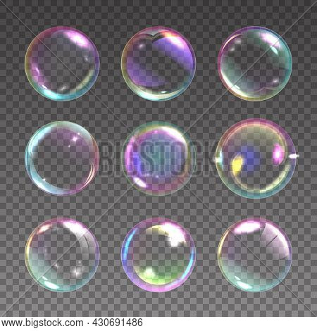 Realistic Soap Bubble. Detergent Foam Rainbow Colored Ball, Laundry And Shower Color Iridescent Clea