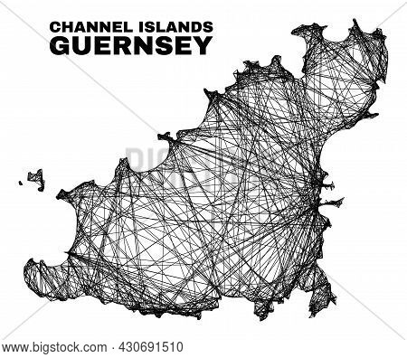 Wire Frame Irregular Mesh Guernsey Island Map. Abstract Lines Are Combined Into Guernsey Island Map.