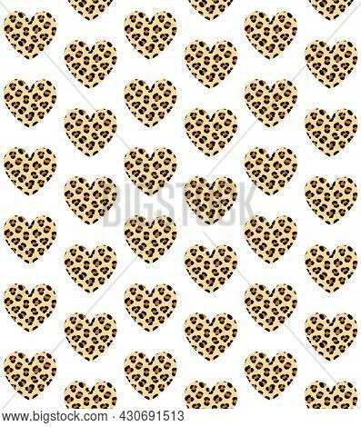 Vector Seamless Pattern Of Hand Drawn Flat Heart With Leopard Cheetah Fur Print Isolated On White Ba