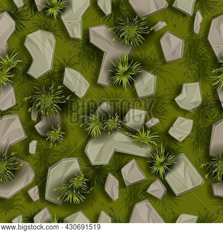 Stone Grass Seamless Pattern, Vector Rock Texture Background, Green Bushes, Plant Top View Illustrat
