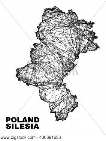 Net Irregular Mesh Silesian Voivodeship Map. Abstract Lines Form Silesian Voivodeship Map. Linear Ca