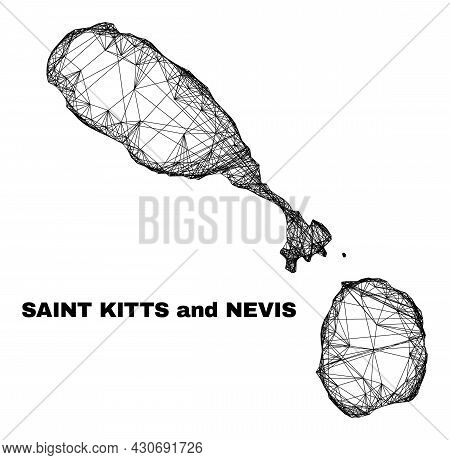 Network Irregular Mesh Saint Kitts And Nevis Map. Abstract Lines Are Combined Into Saint Kitts And N
