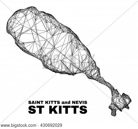 Wire Frame Irregular Mesh St Kitts Island Map. Abstract Lines Are Combined Into St Kitts Island Map.