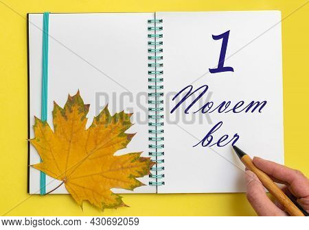 1st Day Of November. Hand Writing The Date 1 November In An Open Notebook With A Beautiful Natural M