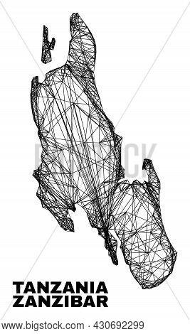 Wire Frame Irregular Mesh Zanzibar Island Map. Abstract Lines Are Combined Into Zanzibar Island Map.