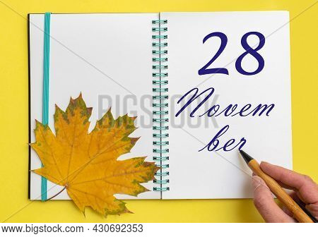 28th Day Of November. Hand Writing The Date 28 November In An Open Notebook With A Beautiful Natural