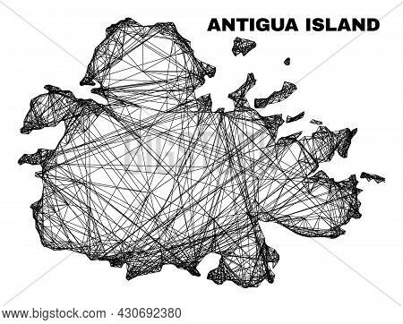 Carcass Irregular Mesh Antigua Island Map. Abstract Lines Are Combined Into Antigua Island Map. Line