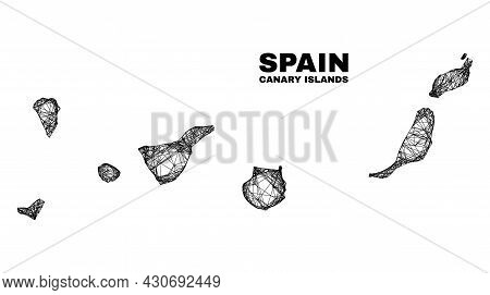 Carcass Irregular Mesh Canary Islands Map. Abstract Lines Are Combined Into Canary Islands Map. Line