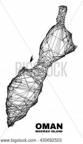 Wire Frame Irregular Mesh Masirah Island Map. Abstract Lines Form Masirah Island Map. Wire Carcass F