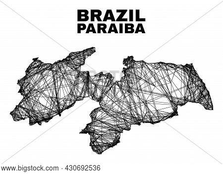 Net Irregular Mesh Paraiba State Map. Abstract Lines Form Paraiba State Map. Linear Carcass Flat Net