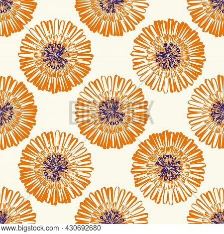 Modern Abstract Gerbera Daisy Flower Seamless Pattern Background. Geometric Repeat With Orange Indig