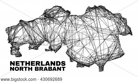 Wire Frame Irregular Mesh North Brabant Province Map. Abstract Lines Are Combined Into North Brabant