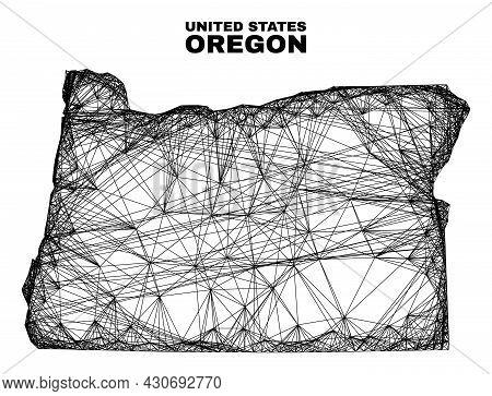 Wire Frame Irregular Mesh Oregon State Map. Abstract Lines Form Oregon State Map. Wire Frame Flat Ne