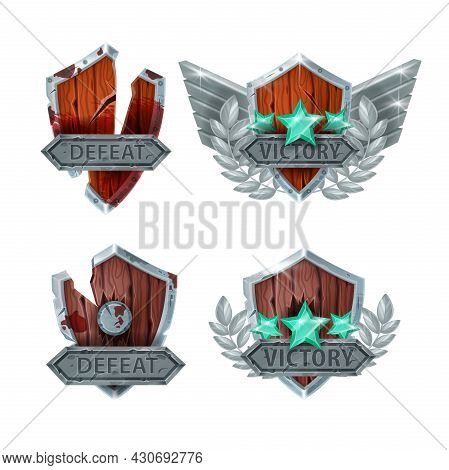 Defeat Victory Game Badge Vector Icon Set, Level Up Rank Medal Award Achievement, Broken Shield, Sta