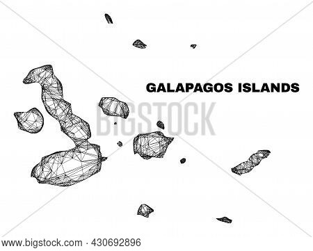 Wire Frame Irregular Mesh Galapagos Islands Map. Abstract Lines Form Galapagos Islands Map. Wire Fra