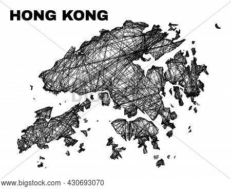Carcass Irregular Mesh Hong Kong Map. Abstract Lines Form Hong Kong Map. Wire Carcass Flat Network I