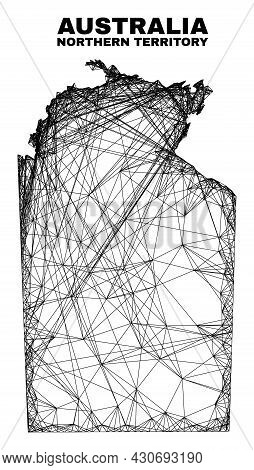 Wire Frame Irregular Mesh Australian Northern Territory Map. Abstract Lines Form Australian Northern