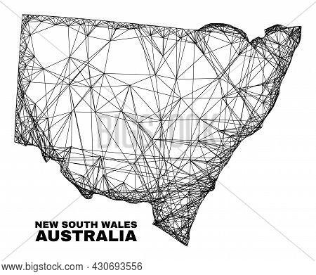 Network Irregular Mesh New South Wales Map. Abstract Lines Form New South Wales Map. Linear Carcass