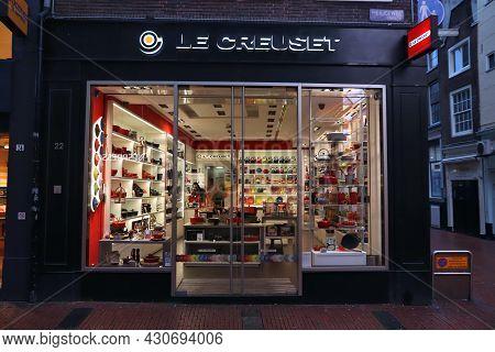 Amsterdam, Netherlands - December 6, 2018: Le Creuset Cookware Shop In Amsterdam, Netherlands. Le Cr