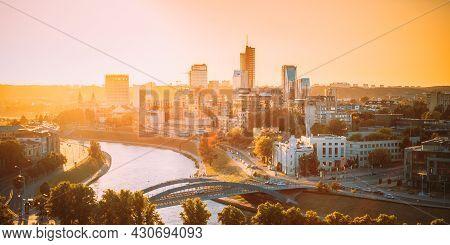 Vilnius, Lithuania. Skyline Cityscape Of Vilnius, In Sunset Lights. Summer Evening. Beautiful View.