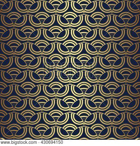 Art Deco Geometric Decorative With Circles Pattern. Vector Illustration.