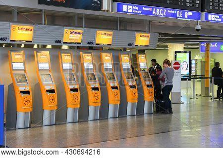 Frankfurt, Germany - December 6, 2016: Passengers Visit Terminal 1 Of Frankfurt International Airpor