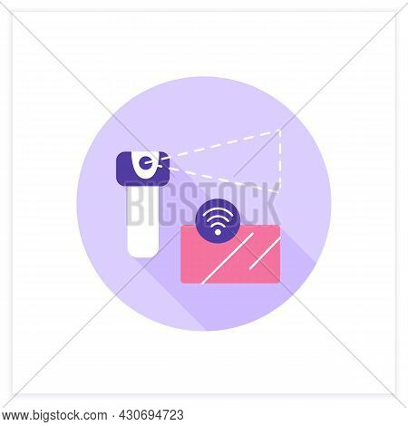 Wireless Sensor Flat Icon. One Touch Pay. Smart Credit Card And Smart Payments. Digital Smart Techno