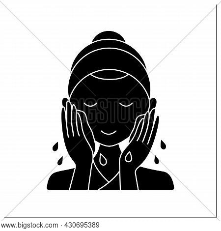 Cleansing Glyph Icon. Woman Wash Face By Water. Cosmetology. Beauty Procedure. Skin Care Routine Con