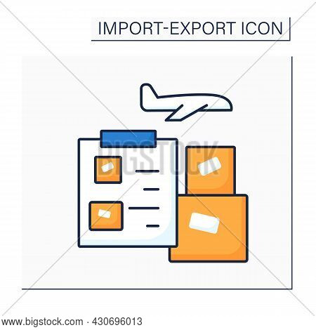 Air Waybill Color Icon. Document Accompanies Goods Shipped By An International Air Courier. Informat