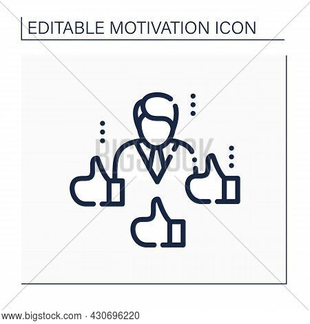Social Recognition Line Icon. Employee Reward And Recognition Methodology. Acknowledging An Individu