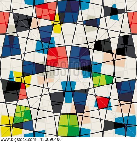 Abstract Mondrian Style Seamless Vector Pattern. Bauhaus Background Diagonal Geometric Style. Colorf