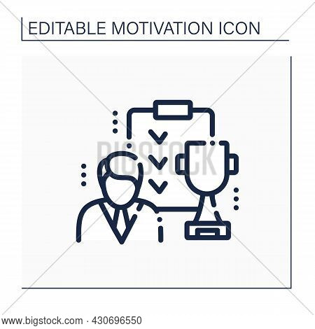 Success Plan Line Icon. Expectations And Goals. Strategically Planning Successful Future. Motivation