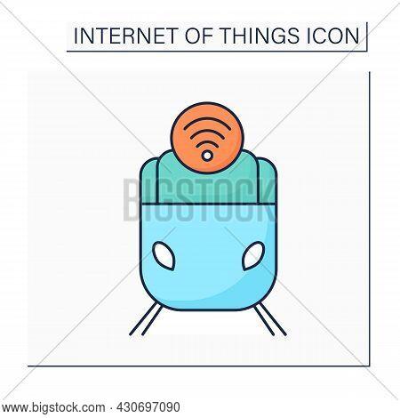 Smart Train Color Icon. Intelligent Transport. Digital Smart Technologies Concept. Modern Smart Trai