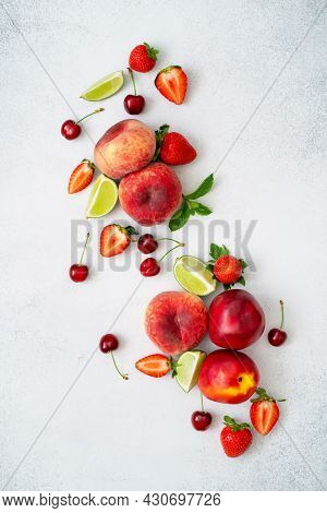 Peach, Cherry, Strawberry, Lime, Mint And Nectarine On Grey Textured Background. Fresh Juicy Fruits
