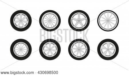 Car Wheel. Car Tire With Rim. Icon Of Sport Auto Tyre. Set Of Rim From Alloy For Truck And Race Auto