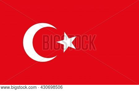 Turkey Flag. Icon Of Turkish Crescent On Red Square. National Symbol Of Turkey, Istanbul And Ankara.