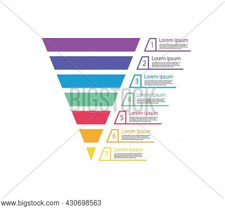 Funnel Sale. Chart Of Marketing. Pyramid For Infographic Of Process. Diagram With Cone And Step. Gra