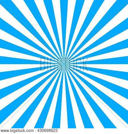 Blue Starburst Background. Oktoberfest Banner. Abstract Comic Sunburst. Blue Ray Of Sun. Background