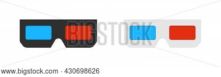 3d Glasses For Cinema. Icon For Movie. Paper Glasses With Red And Blue Glass For Dimensional Spectac