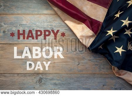 Happy Day Labor Day Banner Message With American Flag